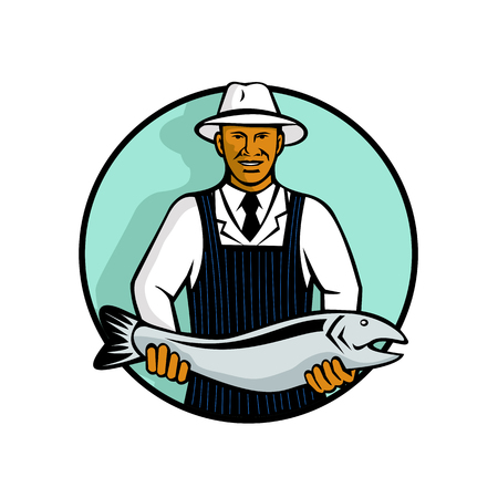 Mascot illustration of a black African American fishmonger holding a trout or salmon fish set inside circle on isolated white background done in retro style.