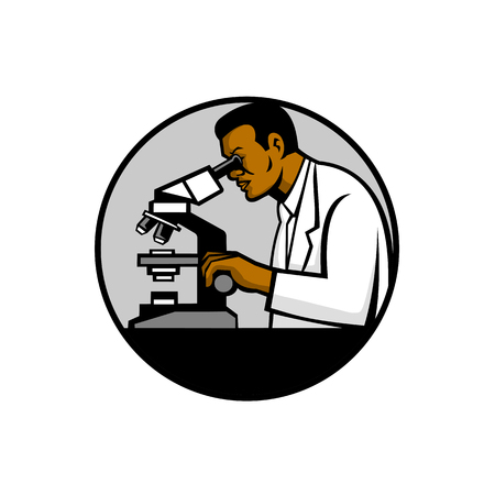 Mascot illustration of a black African American research scientist or researcher looking thru a microscope set inside circle on isolated white background done in retro style. Illustration