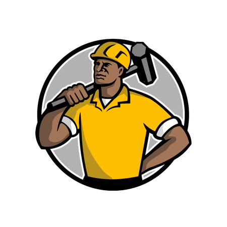 Mascot illustration of a black African American demolition worker, laborer or construction worker with sledgehammer set inside circle on isolated white background done in retro style. Imagens - 108105521