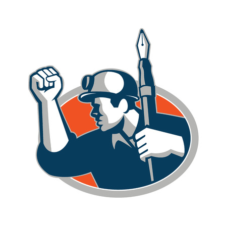 Mascot icon illustration of a coal miner holding a fountain pen and doing a fist pump set inside oval  viewed from side on isolated background in retro style. Standard-Bild - 108105523