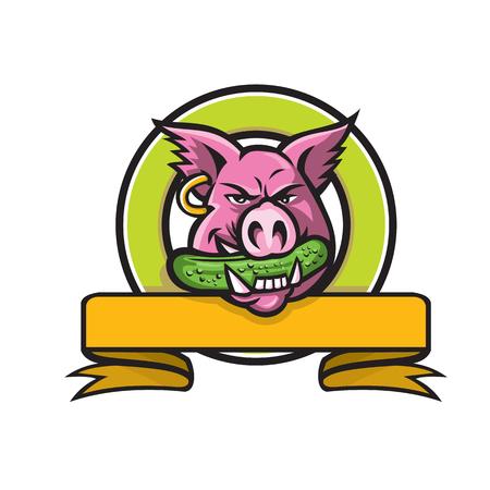 Ilustración del icono de la mascota de la cabeza de un cerdo salvaje, jabalí o cerdo que muerde un pepinillo o pepinillo, un pepino encurtido con cinta en círculo sobre fondo aislado en estilo retro.