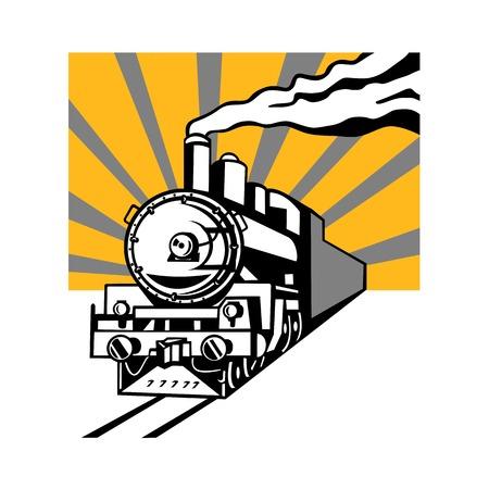 Ilustración de estilo retro de una locomotora o tren de motor de vapor vintage que va hacia el espectador con rayos de sol en segundo plano sobre fondo aislado.