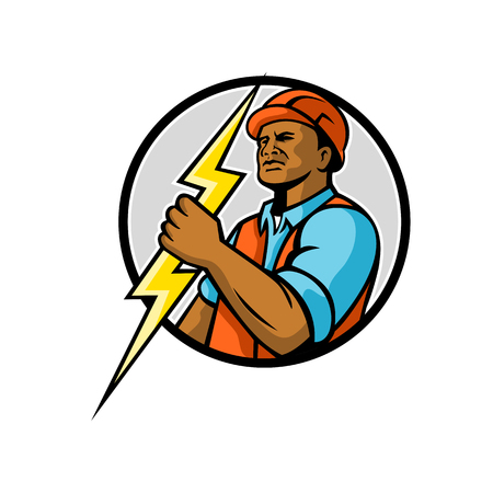 Mascot illiustration of a black African American electrician or power lineman holding a lightning bolt set inside circle on isolated white background done in retro style.