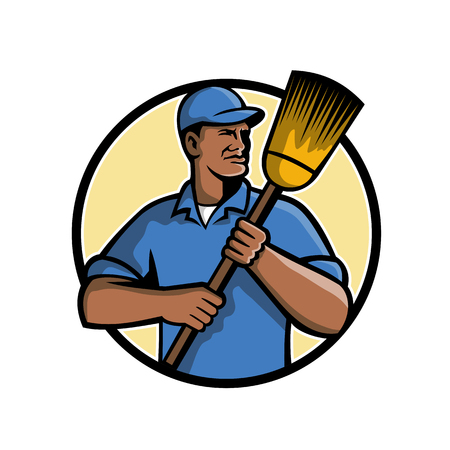 Mascot illustration of a black African American street sweeper or street cleaner holding a broom set inside circle on isolated white background done in retro style.