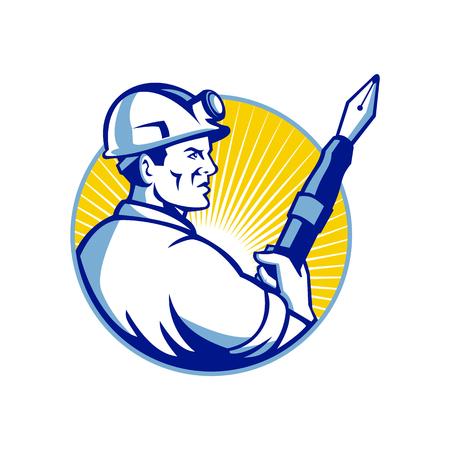 Mascotte pictogram illustratie van een mijnwerker met een vulpen kijkend ingesteld binnen cirkel van opzij gezien op geïsoleerde achtergrond in retro stijl.