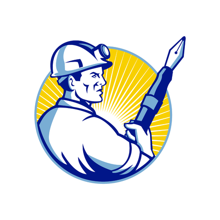 Maskotka ikona ilustracja górnika trzymającego wieczne pióro doczekać ustawionego wewnątrz okręgu oglądanego z boku na na białym tle w stylu retro.