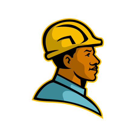 Mascot illustration of a bust of a black African American builder or construction worker viewed from side on isolated white background done in retro style.