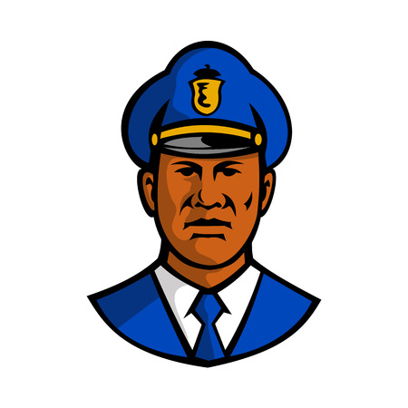 Mascot illustration of bust of a black African American policeman or police officer wearing hat viewed from front on isolated white background done in retro style. Illustration