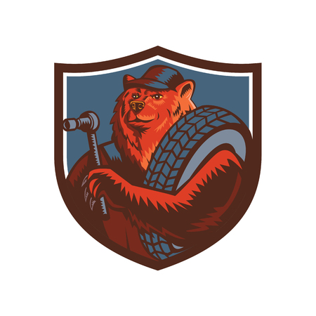 Mascot icon illustration of a Russian bear who is a tireman holding a tire and socket wrench set inside crest shield viewed from front on isolated background in retro style. Ilustrace