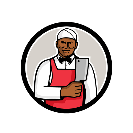 Mascot style illustration of a black African American butcher holding meat cleaver viewed from front set inside circle on isolated white background.