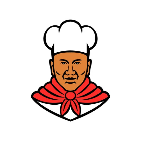 Mascot illustration of head of a black African American baker, chef or cook viewed from front on isolated white background done in retro style. Illustration