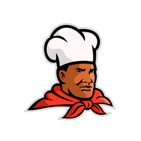 Mascot illustration of head of an African American chef, cook or baker looking to side on isolated white background done in retro style.
