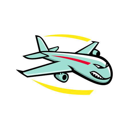 Mascot icon illustration of an angry wide-body commercial jet airliner and cargo aircraft flying in full flight viewed from side on isolated background in retro style.