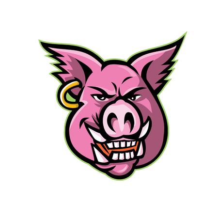Ilustración del icono de la mascota de la cabeza de un cerdo salvaje rosado, jabalí o cerdo con un pendiente visto desde el frente sobre fondo aislado en estilo retro.