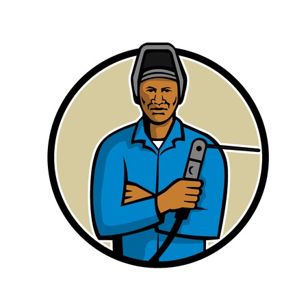 Mascot illustration of a black African American welder holding welding torch viewed from front set inside circle on isolated white background done in retro style. Illustration