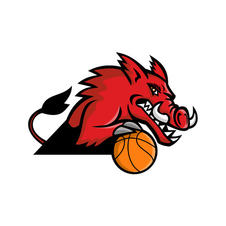 Mascot icon illustration of a red wild boar or razorback dribbling a basketball ball viewed from   on isolated background in retro style.