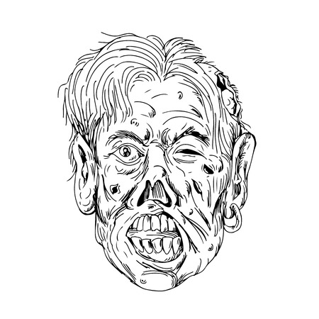 Drawing sketch style illustration of a zombie head, a fictional undead with eyes rolling and mouth chewing viewed from front on isolated background in black and white Ilustração