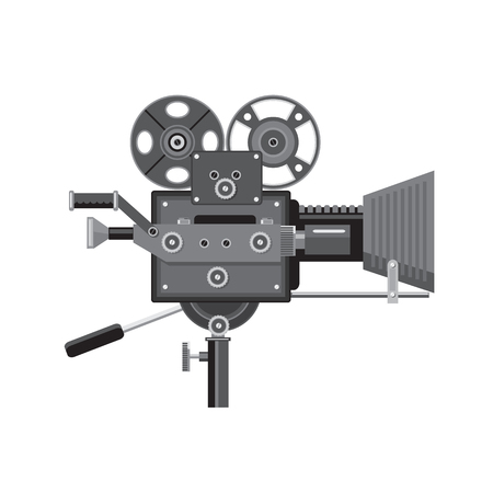 Retro style illustration of vintage movie film camera or cinema camera viewed from side on isolated background. Illustration