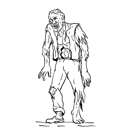 Drawing sketch style illustration of zombie, a fictional undead being created through the reanimation of a human corpse, walking viewed from front.