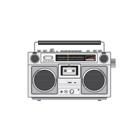 Retro style illustration of a retro vintage portable radio cassette recorder player viewed from front on isolated white background.