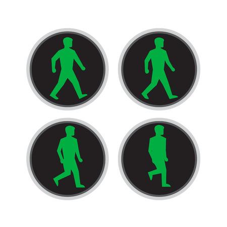 Retro stijl illustratie van loopcyclus opeenvolging van een verkeerslicht licht met groene man lopen voor voetgangersoversteekplaats op geïsoleerde achtergrond.