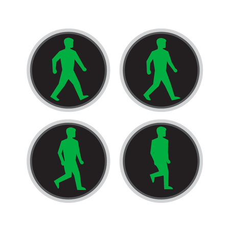 Retro style illustration of walk cycle sequence of a traffic signal light with green man walking for pedestrian crossing on isolated background. Illustration