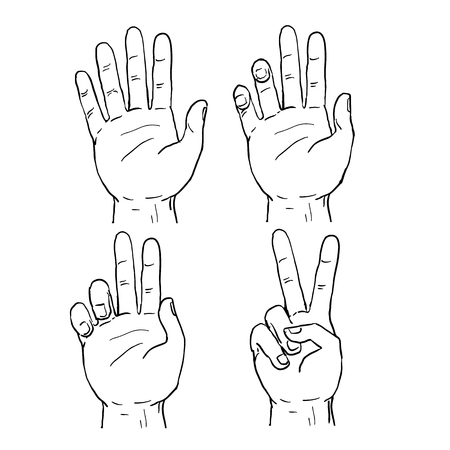 Drawing sketch style illustration showing the sequence progression of a human hand doing a two finger V or Victory sign or peace sign symbol.
