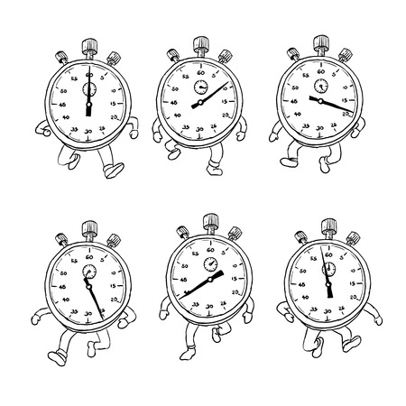 Drawing sketch style illustration of a sequence or run cycle of a stopwatch cartoon character with legs running viewed from front on isolated background.