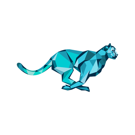 Low polygon style illustration of a cheetah in the hunt at full speed running viewed from side on isolated background.