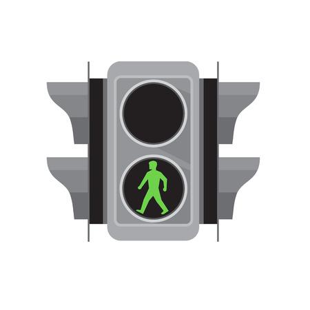 Retro stijl illustratie van een verkeerslicht licht met groene man lopen voor voetgangersoversteekplaats op geïsoleerde witte achtergrond.