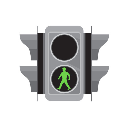 Retro style illustration of a traffic signal light with green man walking for pedestrian crossing on isolated white background.