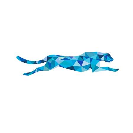 Niedrige Polygonartillustration eines Geparden- oder Großkatzenlaufs gesehen von der Seite auf lokalisiertem Hintergrund.