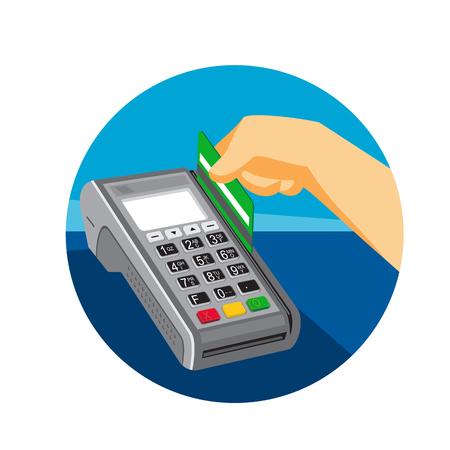 Ilustración de estilo retro de una mano deslizando una tarjeta de crédito en el punto de venta terminal POS dentro del círculo sobre fondo aislado.