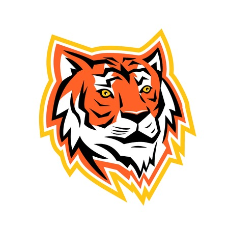 Sports mascot icon illustration of a head of Bay of Bengal tiger, a Mainland Asian tiger looking to side on isolated background in retro style. Illustration