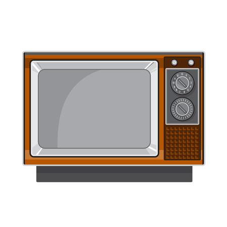 Illustration de style rétro d'un téléviseur vintage noir et blanc des années 1970 en bois et avec cadrans vus de face sur fond isolé.