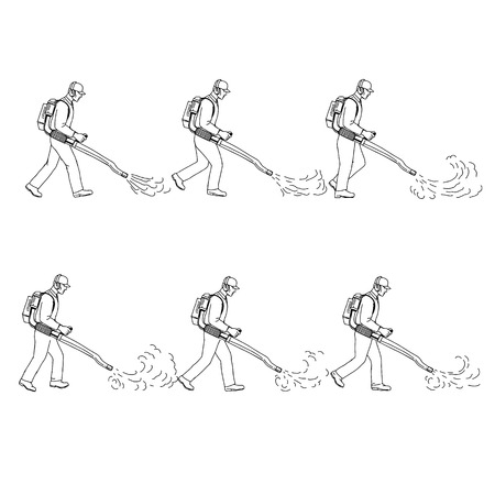 Drawing sketch style illustration of a  a gardener or groundsman with leaf blower or blower vac walking cycle sequence viewed from  side on isolated background. Illustration