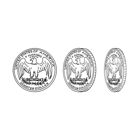 Drawing sketch style illustration showing the reverse or tail of an American quarter dollar or United States coin spinning or flipping on it's head on isolated background.