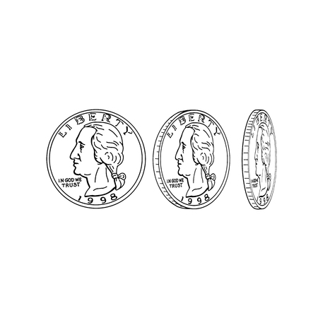 Drawing sketch style illustration showing the obverse or head of an American half dollar or United States coin spinning or flipping on its head on isolated background.