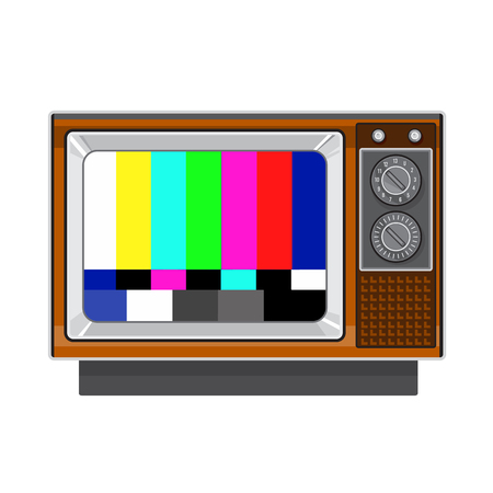 Retro style illustration of a  retro vintage television set with tv test card signal test patternon isolated background.