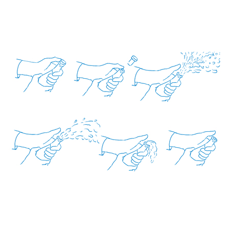Drawing sketch style illustration showing a cycle or sequence of a hand popping a champagne wine bottle on isolated background. Illustration
