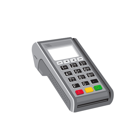 Retro style illustration of a credit card point of sale POS terminal, an electronic device used to process sales and payments at retail locations on isolated background.
