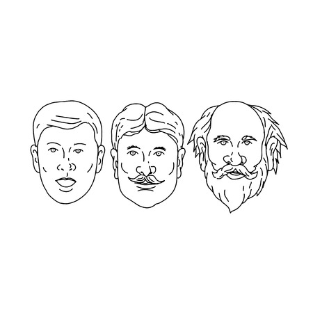 Drawing sketch style illustration of  head of a Caucasian male morphing from young to adult middle age to old senior on isolated white background. Ilustração