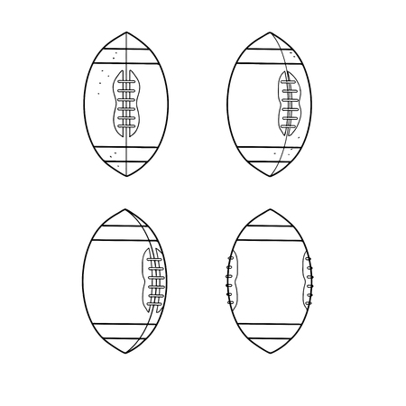 Drawing sketch style illustration of sequence of an American football ball spinning flying from being thrown on side on isolated background. Illustration