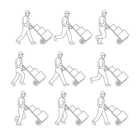 Drawing sketch style illustration of a delivery worker walking pushing a hand cart, pushcart or hand trolley with boxes in walk cycle sequence on isolated background.