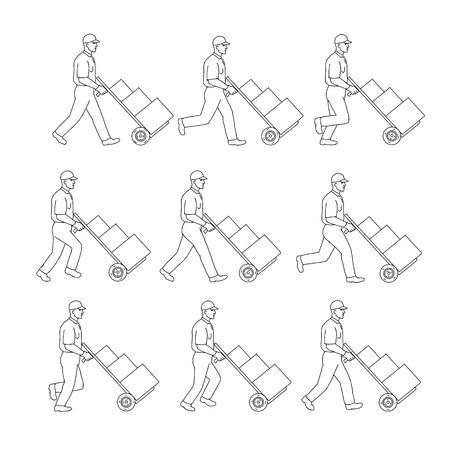 Zeichnungsskizzenartillustration eines Lieferarbeiters, der einen Handwagen, einen Handwagen oder einen Handwagen mit Kisten in der Laufzyklussequenz auf lokalisiertem Hintergrund schiebt. Vektorgrafik