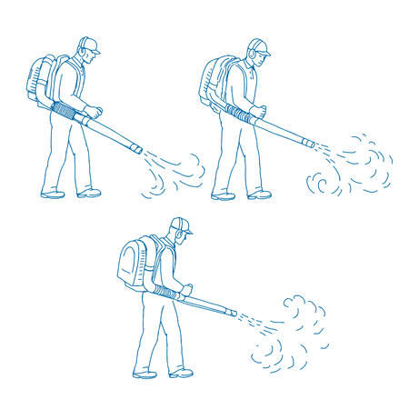 Drawing sketch style illustration of a sequence of gardener with leaf blower or blower vac blowing side to side on isolated background. Illustration
