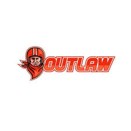 """Ilustración de estilo retro de un motociclista con un casco vintage y un pañuelo o una vista frontal de un pañuelo con las palabras """"Outlaw"""" sobre fondo aislado."""