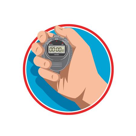 Illustrazione di stile retrò di una mano che tiene un cronometro digitale o un timer e conteggio fino a un millisecondo su sfondo isolato. Vettoriali