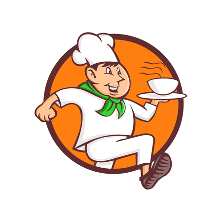 Mascot icon illustration of a speedy running chef, cook or baker serving a bowl of hot fast food set inisde circle viewed from side on isolated background in retro style. Illustration