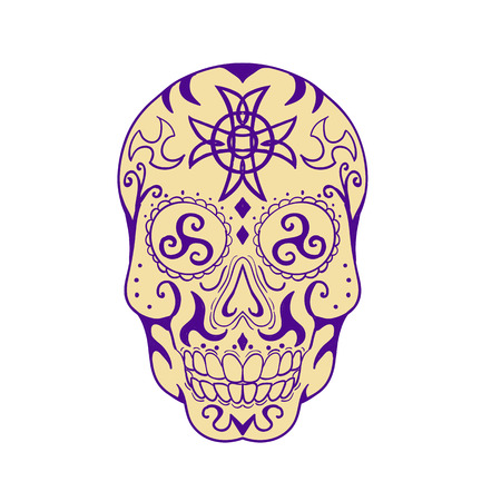 Tattoo style illustration of a Mexican skull with triskele and Celtic cross viewed from front on isolated backgrounbd.